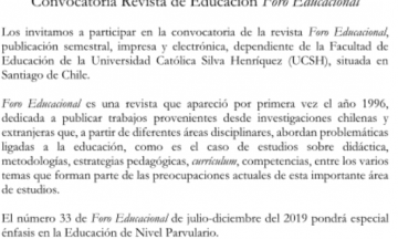 Revista Foro Educacional / @ Call for paper