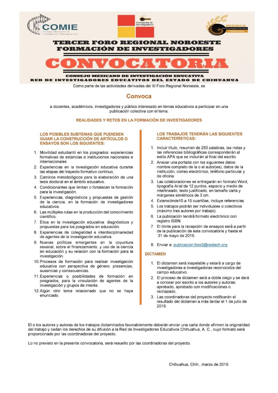 COMIE y REDIECH / @ Call for paper