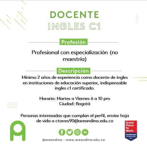 Docente Inglés C1 / @ Colombia